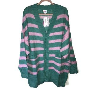 Striped LuLaRoe Lucille Sweater L NWT Pink & Green
